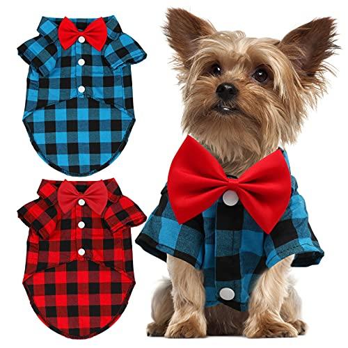 GINDOOR 2 Stück kariertes Welpen-Shirt – süße Jungen Hundekleidung und Fliege Combo Hundeoutfit für kleine Hunde Katzen Geburtstagsparty und Urlaubsfotos groß