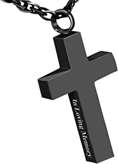 Cremation Cross Necklace for Ashes Stainless Steel Cross Urn Pendant Ashes Holder Memorial Jewelry-in Loving Memory