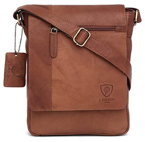 100% Pure Genuine Real Vintage Hunter Leather Handmade Mens Leather Flapover Everyday Cross-Body Shoulder Work Messenger Bag (Vintage Tan)