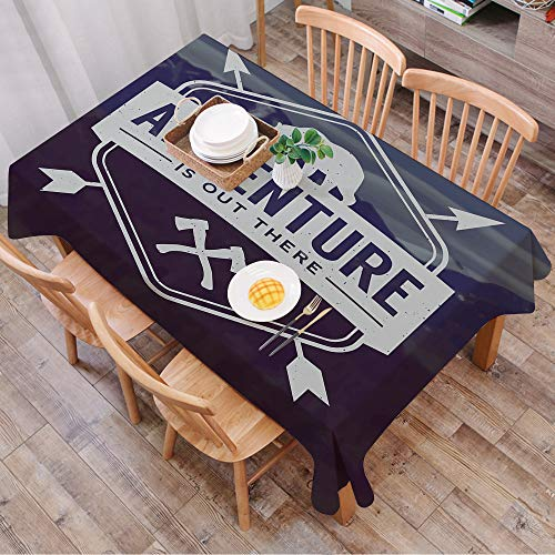 Rechteck Tischdecke140 x 200 cm,Adventure, Motivational Quote Hatchets und Bear Mountain Landscape, Dun,Couchtisch Tischdecke Gartentischdecke, Mehrweg, Abwaschbar Küchentischabdeckung für Speisetisch