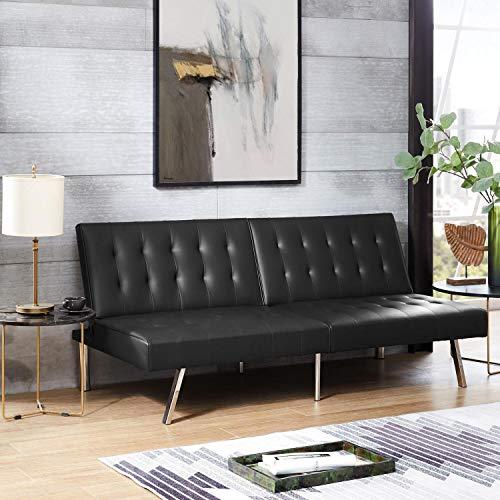 Naomi Home Tufted Split Back Futon Sofa Faux Leather/Black