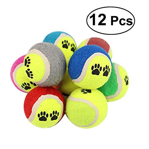UEETEK Mini-Tennisball für Hunde, bissfest, Kauspielzeug für Hundetraining, zufällige Farbe, 12 Stück