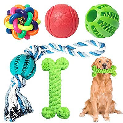 5 Pack Dog Toys of Teething, Puppy Dog Chew Toys Teething Training, Durable Rubber Fun Interactive Toys for Boredom for Large And Small Dogs (green)