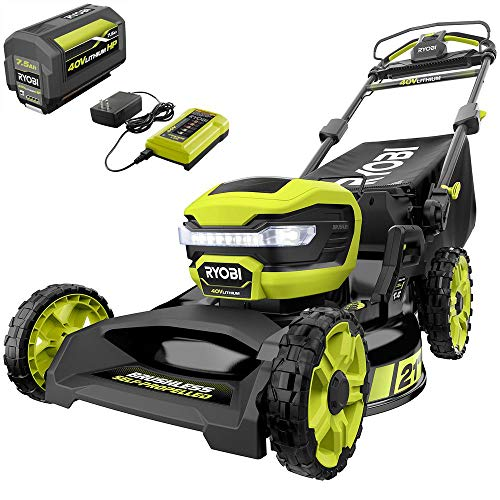 RYOBI RY401130 21 in. 40-Volt Lithium-Ion Brushless Cordless Walk Behind Self-Propelled Mower with 7.5 Ah Battery/Charger Included