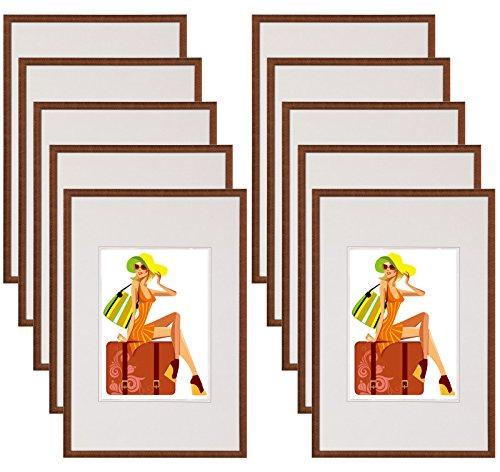 WOLTU #315 Bilderrahmen Bildergalerie Fotogalerie mit Passepartout, Foto Collage Galerie, Kunststoff und Echtglas, New Life Style, Bronze, 15x20 cm, 10er Set