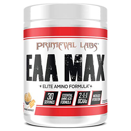 Primeval Labs EAA Max, Essential Amino Acids Supplement Powder, BCAAs, EAAs, Electrolytes, Enhance Performance, Support Hydration, Improve Muscle Recovery, Keto Friendly, Orange Sherbet, 30 Servings