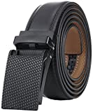 Marino Avenue Men's Genuine Leather Ratchet Dress Belt with Linxx Buckle - Gift Box - Diamond Cut - Black - Adjustable from 28' to 44' Waist