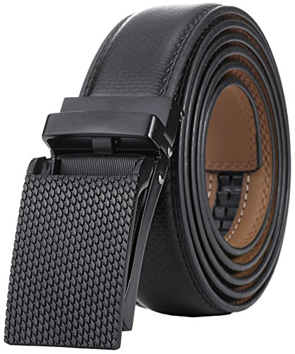 Marino Avenue Men's Genuine Leather Ratchet Dress Belt with Linxx Buckle - Gift Box (Diamond Cut - Black, Adjustable from 28