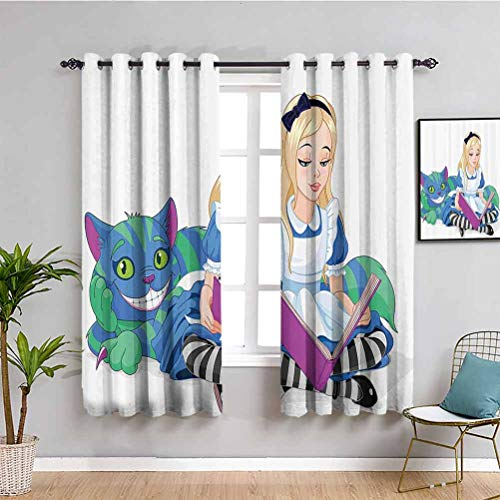 Alice in Wonderland Decorations Room Darkened Heat Insulation Curtain Alice Reading Book Cat Colorful World Happiness Love Character Illustration for Living Room or Bedroom Multi W63 x L63 Inch