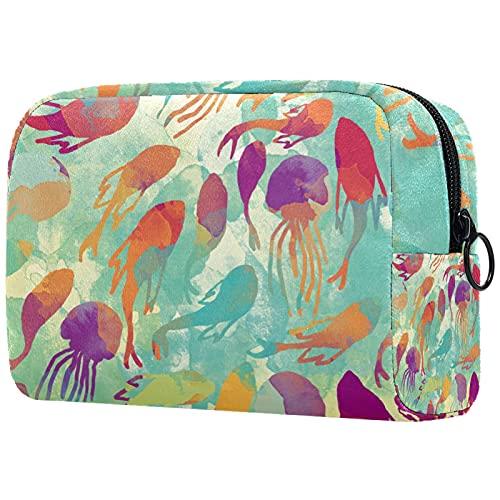 FURINKAZAN Rojo naranja acuarela peces medusas viaje maquillaje bolsa para artículos de tocador bolsa de maquillaje bolsa de maquillaje hombres y mujeres