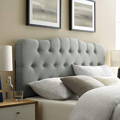 Modway Annabel Queen Upholstered Linen Headboard in Gray