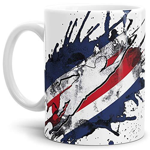 Tassendruck Flaggen-Tasse Fussballer -Costa Rica - Fahne/Länderfarbe/WM 2018/Weltmeisterschaft/Cup/Tor/Weiss - Qualität Made in Germany