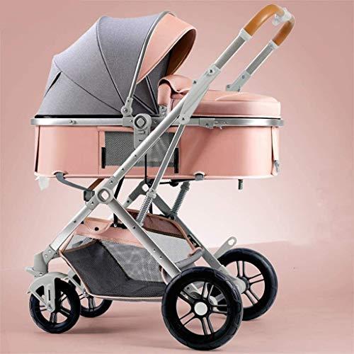 LOXZJYG Cochecito Ligero, Asiento Reversible, un Pliegue de una Mano, Canasta de Compras Grande, carruaje de bebé con Bastidor de Botellas, Cochecito Ligero para recién Nacido (tamaño : Pink)
