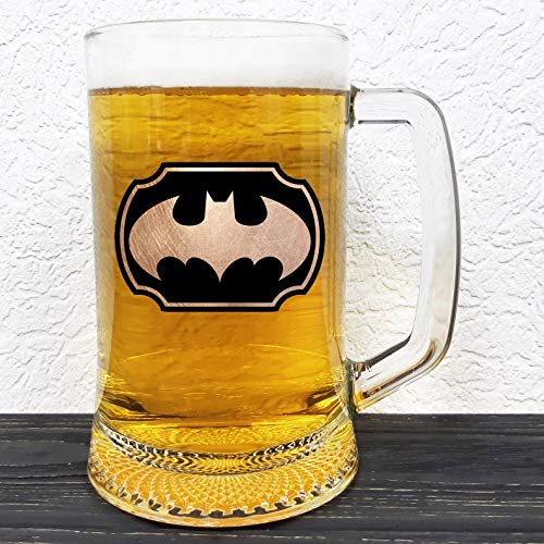 Batman Glass Beer Stein - DC Comics Gift - Groomsman Beer Mug - Gift For Him - Personalized Beer Mug Glass - Gift For Men Who Have Everything