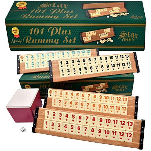 Melody® Star Holz Rummy Spiel Set VIP Okey 106 Melamin Steine schwere Qualität TAKIMI Wooden hell #3018