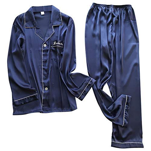 AFUPO Pijama Lencería Satén Ropa de Dormir Hombre Talla Grande Camisón de Manga Larga Hombre, Azul Marino, XXXL