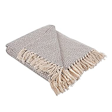 DII Rustic Farmhouse Cotton Diamond Blanket Throw with Fringe For Chair, Couch, Picnic, Camping, Beach, & Everyday Use , 50 x 60  - Diamond Gray