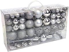 Wohaga® Set de 105 Bolas de Navidad Ø3/4/6cm plástico Adornos del árbol de Navidad decoración navideña decoración para el Abeto