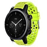 LvBu Armband Kompatibel Für Moto 360 3.gen, Sport Silikon Classic Ersatz Uhrenarmband Für Motorola Moto 360 3. Generation Smartwatch (Grün)