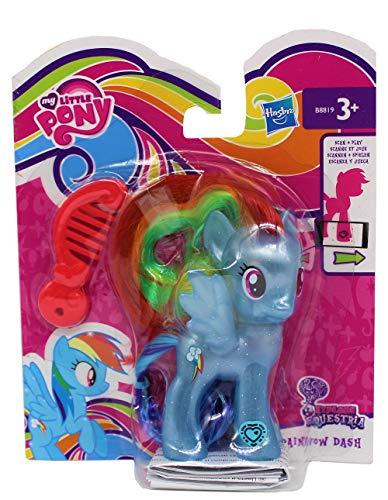 MLP My Little Pony Explore Equestria Figur zum frisieren, mit Kamm & glitzerndem Haarreif, Code am Fuß für die APP, Spielfigur für Mädchen, Kinder (Rainbow Dash, blau)