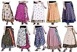Falda larga para mujer india de 2 capas de cobertura, trajes de baño, falda envolvente de playa, lote al por mayor, seda mágica envoltura para mujer estilo impreso