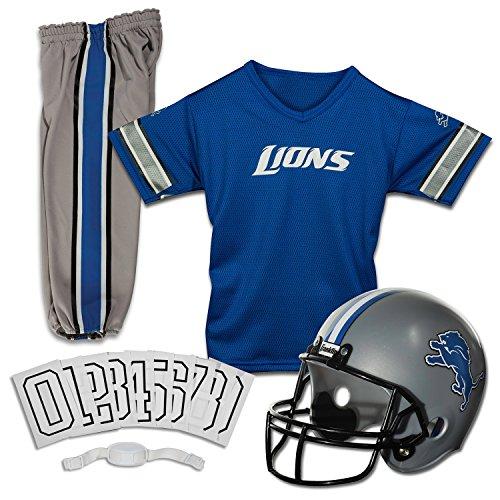 Franklin Sports Detroit Lions Kids Football Uniform Set - NFL Youth Football Costume for Boys & Girls - Set Includes Helmet, Jersey & Pants - Medium