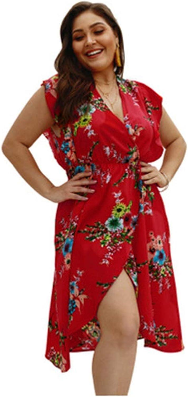 CARRY Dress, European and American Women's Comfortable Large Size Waist Soft Dress Elegant Sleeveless VNeck Print Dress (color   color3, Size   2XL)