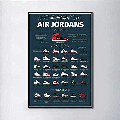 VGSD® Posters Sneaker Michael Jordan Schoenen Mode Aj Geschiedenis Air Max Muur Art Schilderij Print Op Zijde Canvas Poster Woondecoratie 50X70Cm