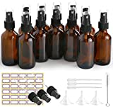 Glass Spray Bottles, ESARORA 12 Pack 2oz Amber Glass Spray Bottle Set Fit for Essential Oils - Cleaning Products - Aromatherapy