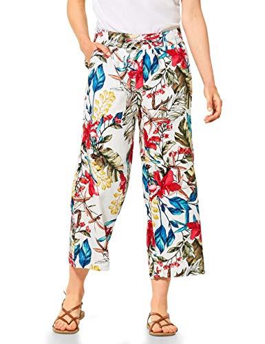 Cecil Damen 372895 Linen_Flower Print Culotte Hose, White, XL