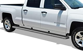 APS Wheel to Wheel Running Boards 5in Custom Fit 2007-2018 Chevy Silverado GMC Sierra Crew Cab 6.5ft Bed & 2019 2500 HD 3500 HD (Exclude 07 Classic)(Include 19 1500 LD) (Nerf Bars Side Steps Side Bar)