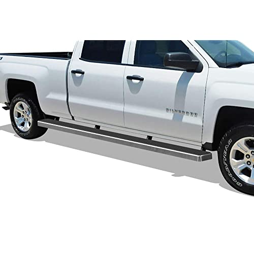 APS iBoard (Silver 5in Wheel to Wheel) Running Boards Nerf Bars Compatible with 2007-2018 Chevy Silverado GMC Sierra Crew Cab 6.5ft Bed & 2019 2500 HD 3500 HD (Exclude 07 Classic)(Include 19 1500 LD)