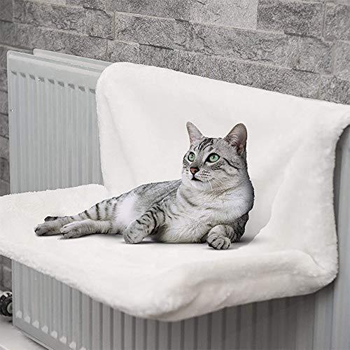 Poetance Letto per termosifone, per gatti, per animali domestici, amaca in cashmere di agnello per gatti, telaio in ferro compatibile con tutti i riscaldatori ad aria