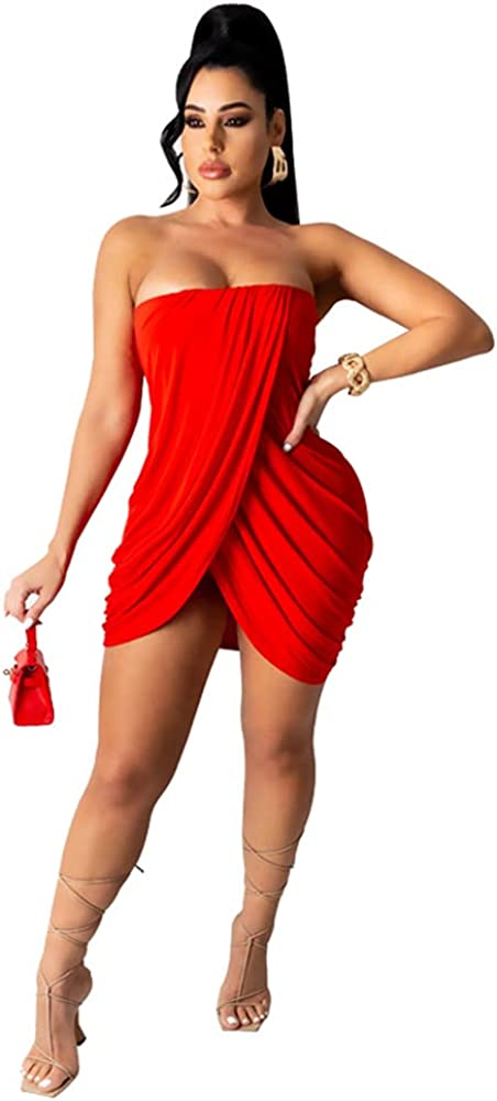 Holatee Women's Sexy Irregular Pleated Split Sleeveless Tube Top Summer Solid Color Strapless Bodycon Club Party Mini Dress