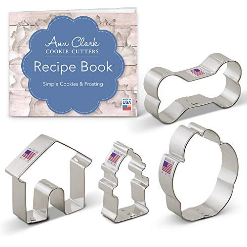 Cookie Cutters 4-Piece Dog Themed Cookie Cutter Set with Recipe Booklet