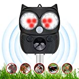 OUTERDO Solar Cat Repellent Ultrasonic Pet Animal Repeller Rechargeable Garden Flashing Light pest repeller,Motion Sensor and Waterproof-USB/Solar Battery Operated
