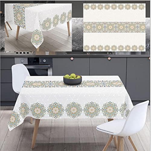 3D Mantel Impermeable Antimanchas 140x200cm Flores Frescas Lavable Poliéster Rectangular Manteles para Jardín Habitaciones