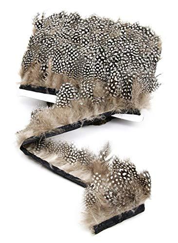 PANAX Piume di Pollo Grigie con Puntini su Strisce di Tessuto di 2m - 5-8 cm Lunghezza di Piume, Ideali per Carnevale, Decorazioni, Artigianato, Costumi, Matrimoni Marrone