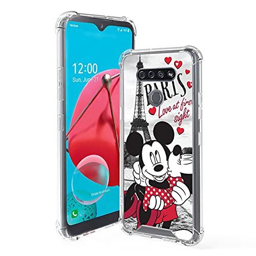Compatible con LG K51 Slim Slim Slim Slim Cover Resistente a los arañazos, Cute Cartoon Anime Fashion Ligero Mickey Mouse y Minnie Paris Funda Protectora