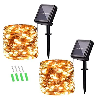 40ft 100-LED Outdoor Waterproof Solar String Lights, Warm White Fairy Lights with 8-Lighting Modes, Copper Wire Lights for Patio, Yard, Holidays, Christmas Weddings, 2-Pack