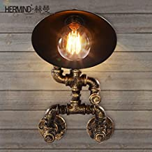 Omped North American Style Retro Industrial Pipe Wall Lamp Small Bronze Corridor Cafe Study Decorative Wall Lamp