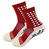 MultiWare 1 Paire Chaussettes de Football Antidérapantes Trusox Tocksox Style Antidérapant Chaussettes de Sport Antidérapantes Chaussettes de Basket-Ball Football Randonnée Rouge