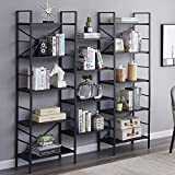 Superjare Triple Wide 5-Tier Bookshelf, Rustic Industrial Style Book Shelf, Wood and Metal Bookcase Furniture for Home & Office - Black