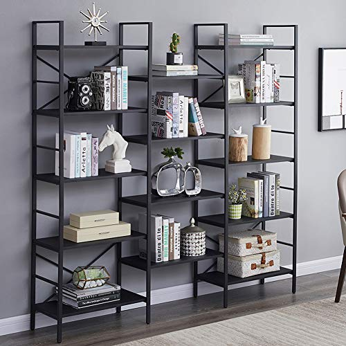CRIZTA 4pcs Invisible Floating Bookshelf, Heavy Duty Wall Mounted Book Organizer, Metal Shelves Holder for Books, Large Size (Black)