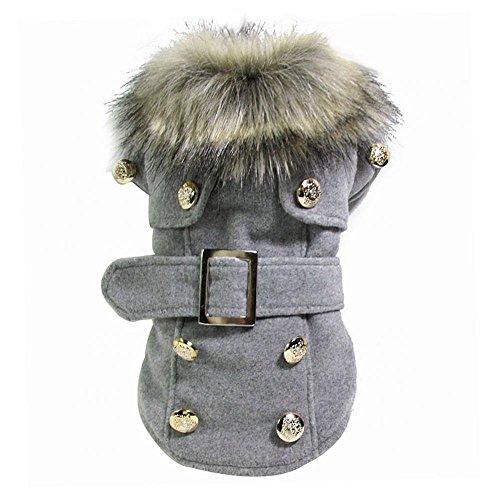 Haustier Hund Katze Winter Dicke Warme Mantel Jacke Kleidung Bekleidung - Grau, M