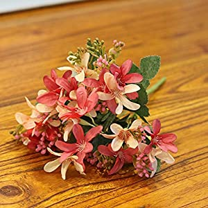 ShineBear 20 Heads Silk Narcissus Flower Artificial Fake Flower Bouquet European Style Wedding Garden Home Living Room Decoration 1pcs/lot – (Color: Rose Pink)