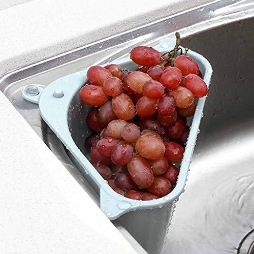 AMhomely® Waschbecken Filterablage Dreieck-Lagerregal - Seiher Sieb Set Klappbar Abtropfsieb über die Spüle Vegtable/Obst Küche Sieb Teesieb mit ausziehbaren Griffen (Blau)