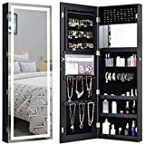 Giantex Jewelry Cabinet Box Amoire Door Wall Mount Lockable Touch Screen Light Built-in Zipper Pocket Inside Makeup Mirrored Storage Jewelry Box Armoires with Lipstick Holder(Black)