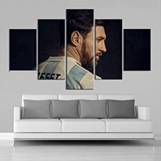 ARTZHUA Wall Art 5 Pieces Canvas Paintings American Football 5 Pieces Creative Argentina Sports Star Wall Posters Football Canvas Paintings Art Prints Pictures Boys Bedroom Decoration