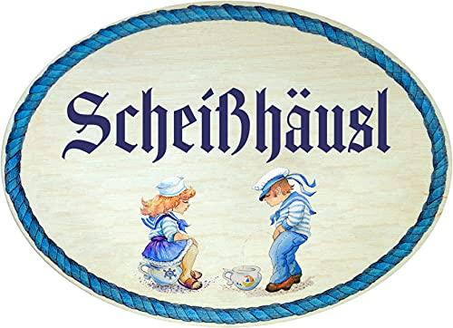 Kaltner Präsente Geschenkidee - Geschenkartikel Deko Türschild im Antik Design Dekoartikel Toilette WC Scheißhäusl (18 x 13 cm)